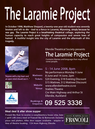 """the laramie project monologues Secondly, ensler didn't write the monologues themselves verbatim from the   smith does, or moises kaufman did with his """"laramie project."""